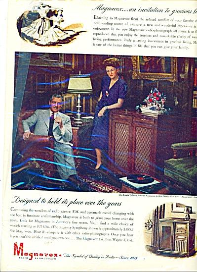 1946 Magnavox Phonograph AD Ronald COLMAN (Image1)