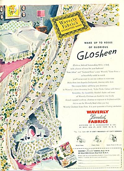 Waverly bonded fabrics - Glosheen ad 1946 (Image1)