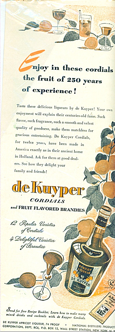 De Kuyper Cordials Brandies Ad 1946