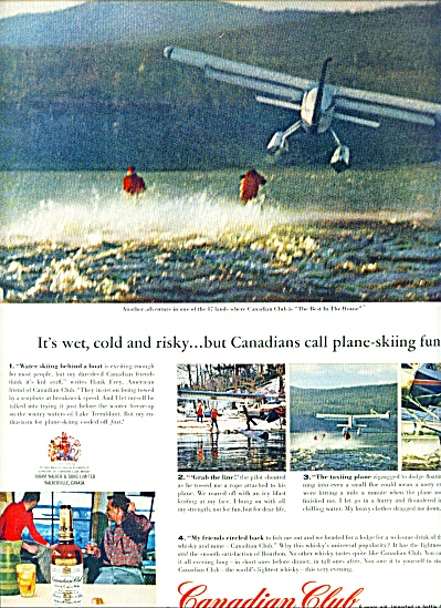 1963 Canadian Club Whiskey Ad Plane Skiing