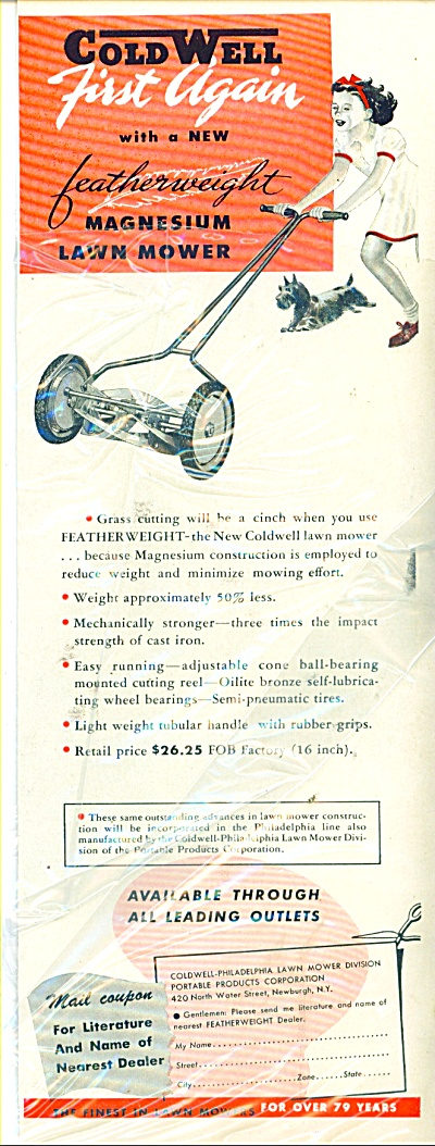 Coldwell magnesium lawn mower ad 1946 (Image1)