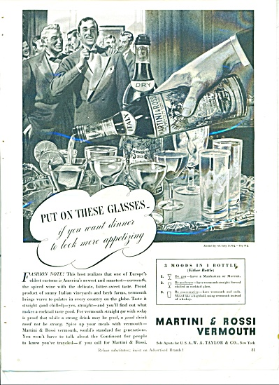 1939 Martini And Rossi Vermouth Ad Art Signed In Print