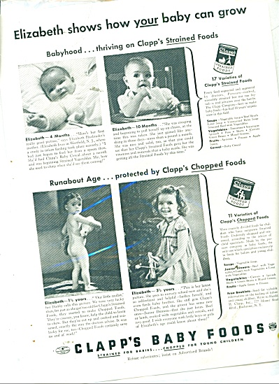 Clapps Baby Foods Ad 1939