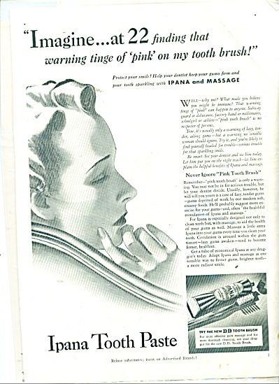 1939 IPANA Tooth Paste Vintage WOMAN ART AD (Image1)