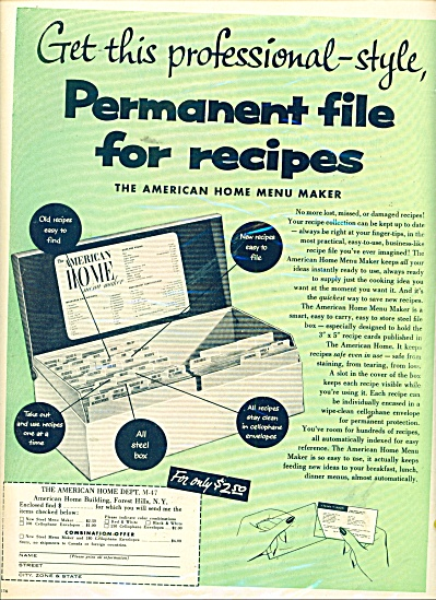 Permanent file for recipes ad 1957 (Image1)