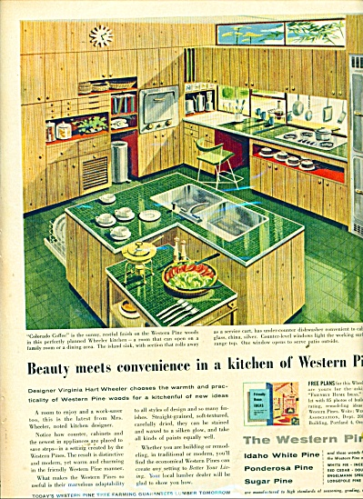 The Western Pines ad 1957 Mid Century Modern Kitchen (Image1)