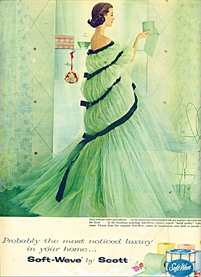 1957 Scott Tissue AD Beautiful WOMAN in DRESS (Image1)