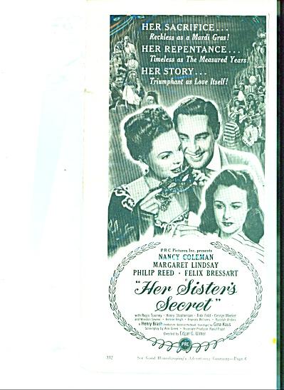 Movie AD PROMO  Her Sister's Secret - MARGARET LINDSAY (Image1)