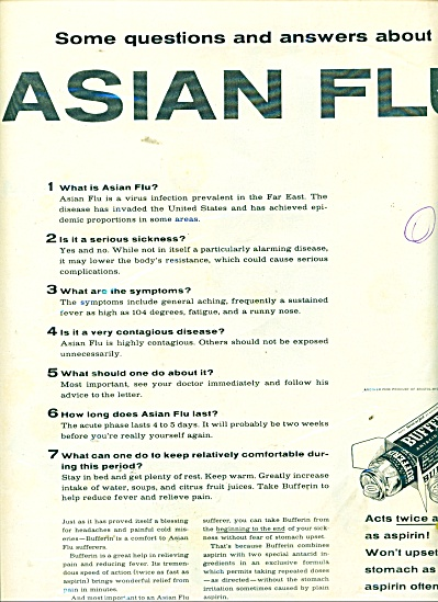 Bufferin antacid analgesic ad - ASIAN FLU - 1957 (Image1)