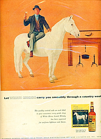 White Horse Scotch Whiskey Ad 1957