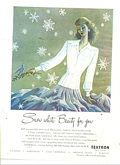 1946 Textron Snow White Beauty Rayon AD STERN (Image1)
