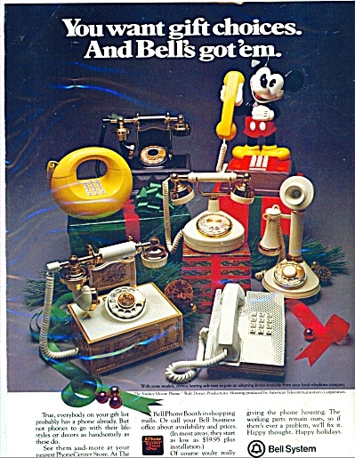 Bell Telephone System Ad Mickey Mouse Phone