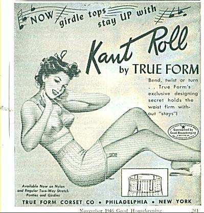 1946 Kant Roll True Form BRA PIN UP ART AD (Image1)