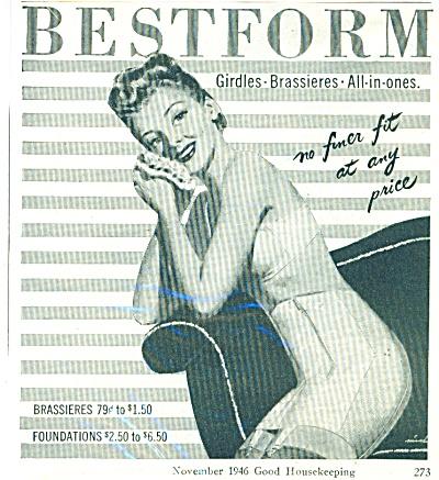 1946 BESTFORM GIRDLE BRA Bassieres AD ARTWORK (Image1)