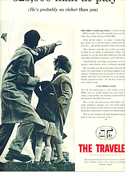 1957 Travelers Insurance AD Dad - Kids Flying (Image1)