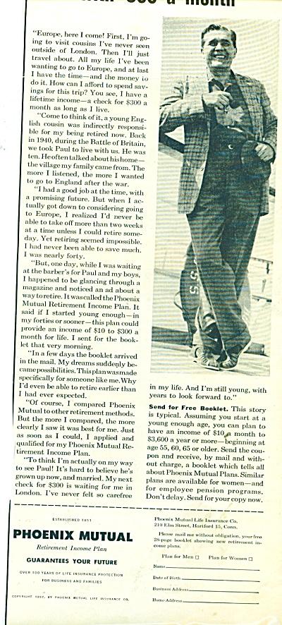 Phoenix Mutual retirement income plan ad 1957 (Image1)