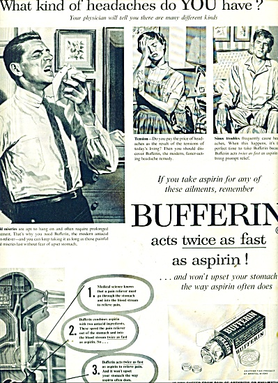Bufferin analgesic ad 1957 (Image1)