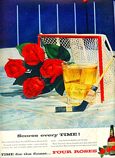 1957 Four Roses Whiskey AD HOCKEY SCORE (Image1)