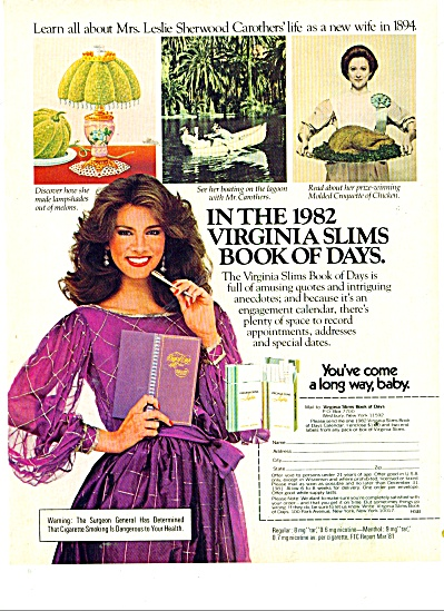 1981 DANI MINNICK Virginia Slims Cigarette AD (Image1)
