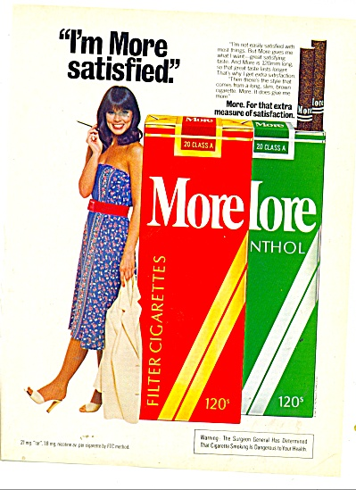 1981 More Cigarette Ad Beautiful Model
