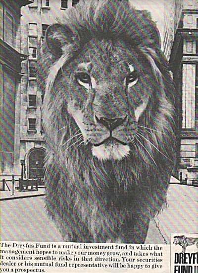 1967 Dreyfus Fund Mutual Investment LION Print AD (Image1)