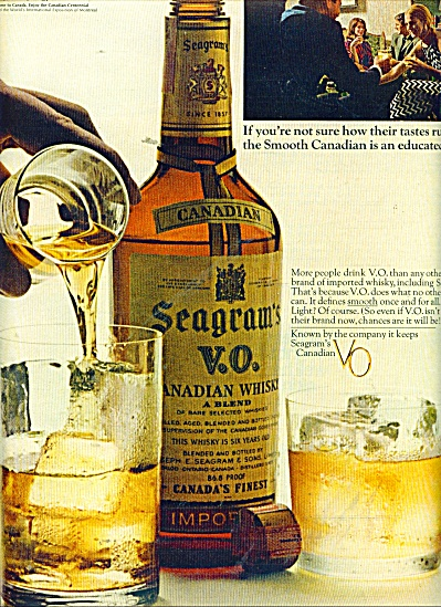 Seagram's V.o.canadian Whisky Ad 1967