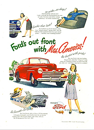1946 FORD Mrs. America CAR AD Bustin Pride (Image1)