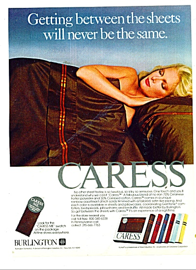 1980 Burlington Caress Sheet AD  Woman (Image1)