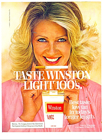 1979 Winston light 100's cigarettes ad BLONDE (Image1)