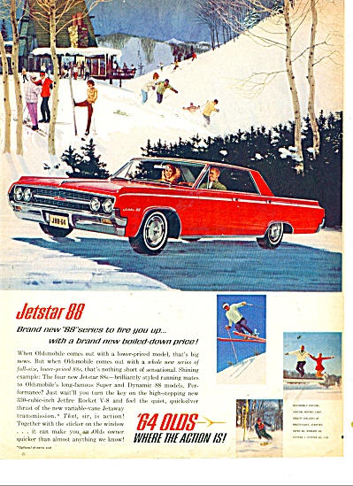 1964 Oldsmobile Jetstar 88 Ad Skiing Art