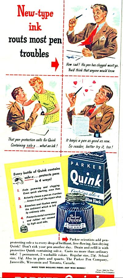 1945 Parker QUINK INK Cartoon  ad 1945 (Image1)
