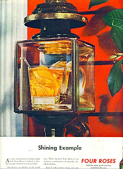 1945 Four Roses Whiskey AD SHINING EXAMPLE (Image1)
