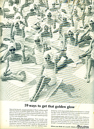 1064 Bulova Watch AD 59 GIRLS in TOWELS BEACH (Image1)