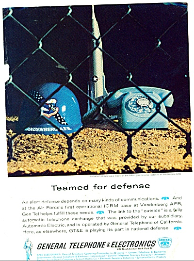 1962 General Telephone Ad Vandenberg Afb