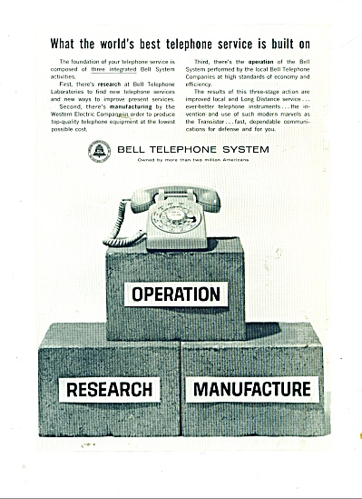 1962 Bell Telephone Ad Best Service