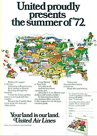 1972 United Air Lines AD SUMMER of 72 MAP (Image1)