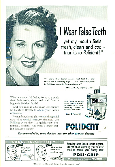 Polident denture cleanser  ad 1950 (Image1)