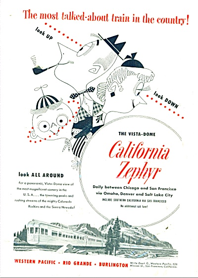 1950 California Zephyr  vista dome train AD (Image1)