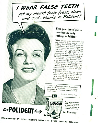 Polident Dental Plates Cleaner Ad 1948