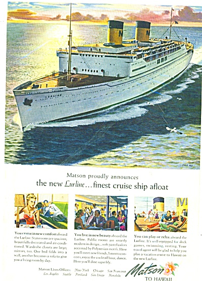 Matson cruise ship line to Hawaii ad 1948 (Image1)