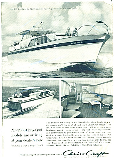 1962 Chris Craft Boat Ad 1963 Constellation