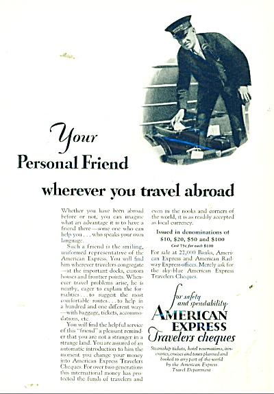 1929 American Express AD Train Porter Travel (Image1)