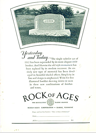 Rock of Ages tomb stones ad 1929 (Image1)