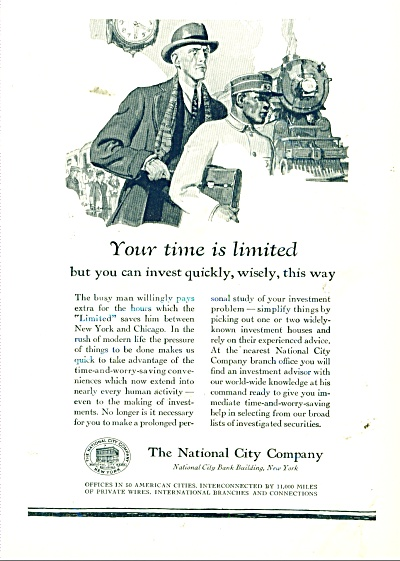 1929 National City Invest AD Artwork TRAIN - (Image1)