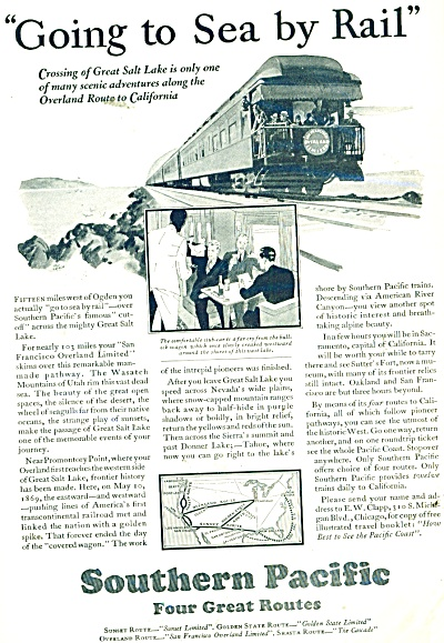 1929 Southern Pacific Railroad Train AD Vinta (Image1)