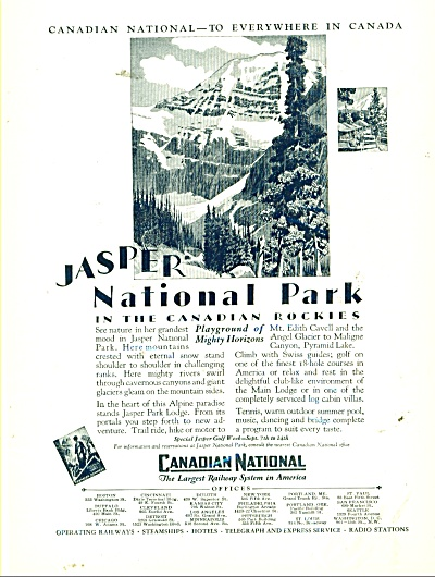Canadian National railway system ad 1929 JASPER PARK (Image1)