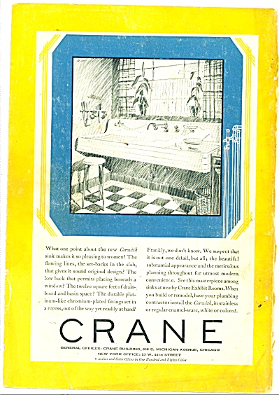 1929 Crane Plumbing KITCHEN Fixtures AD (Image1)