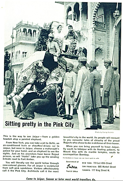 India Travel Brochure To Jaipur - Ad 1962