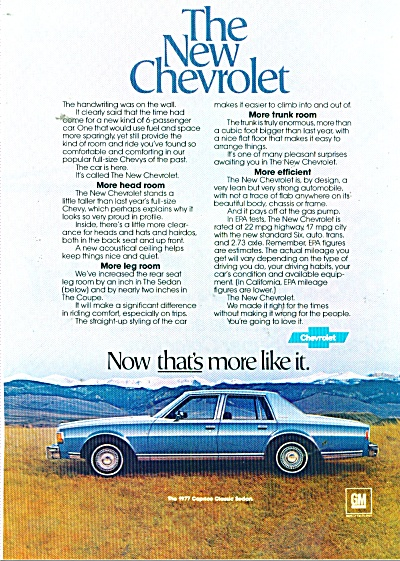 Chevrolet Caprice classic sedan ad for 1977 (Image1)
