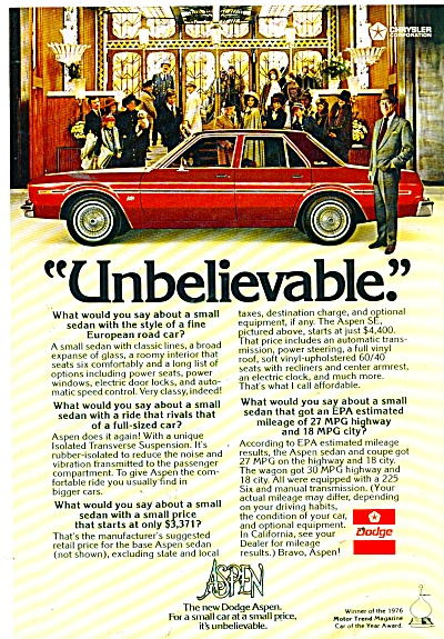 Dodge Aspen ad for 1976  REX HARRISON (Image1)